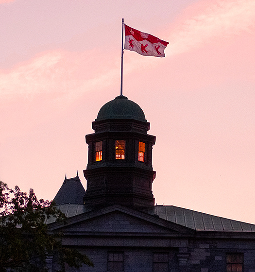 Photo of the McGill Arts building cupola at dusk