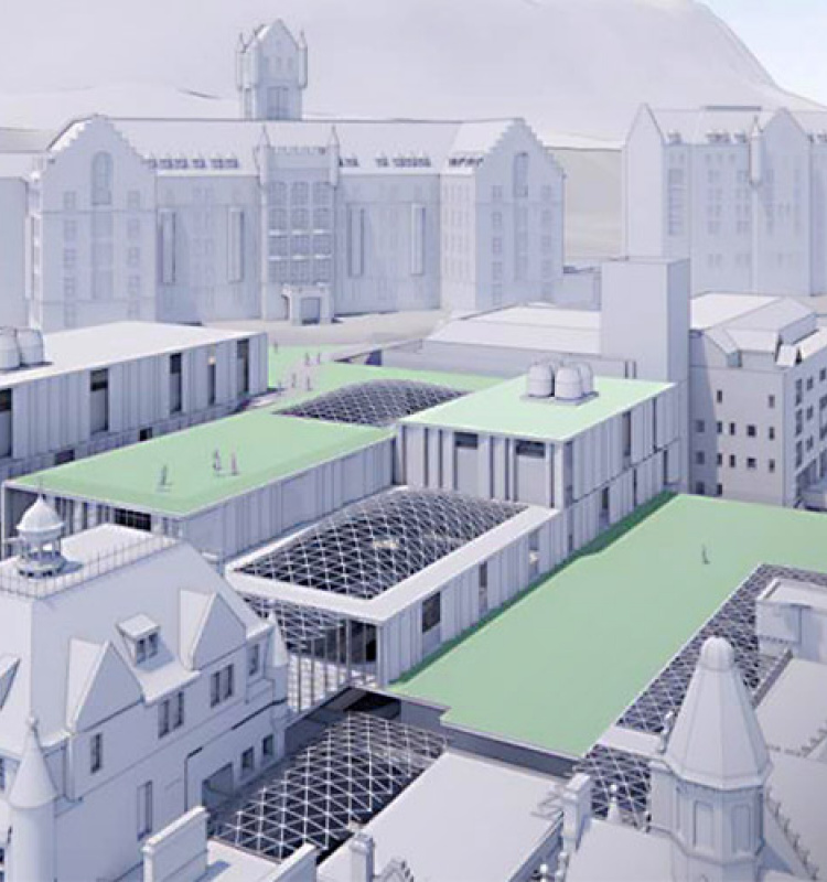 Architects' aerial sketch of New Vic site with green roofs